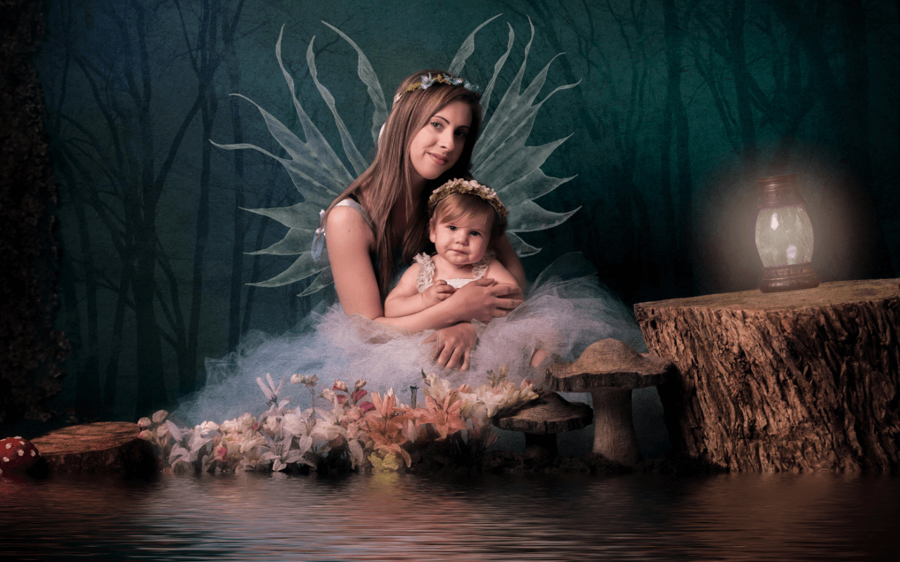 Slice of Life Photography - Mother and Child Posing as Fairies Image