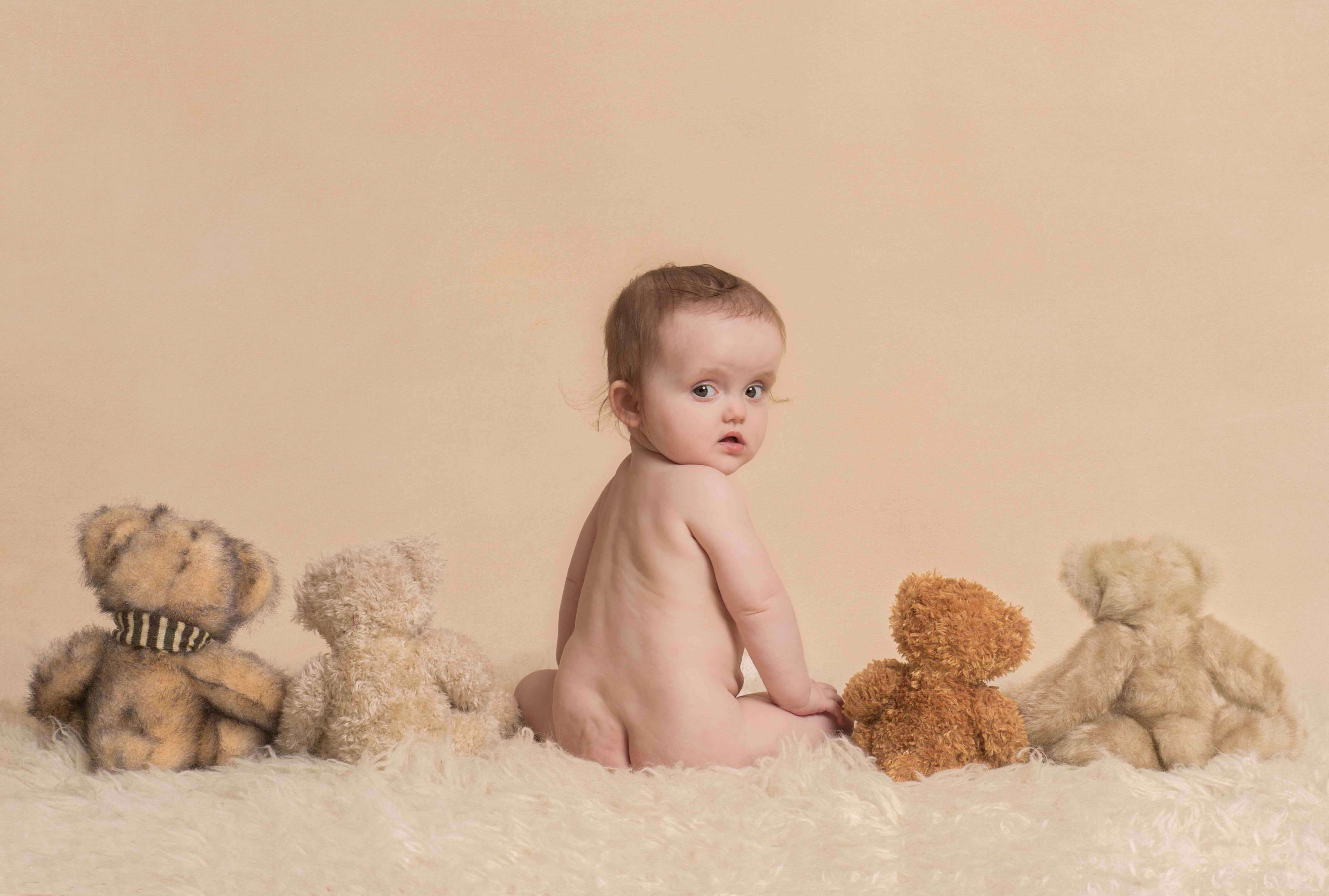 Slice of Life Little Sitters Session Gallery - Baby Girl sat with cuddly toys