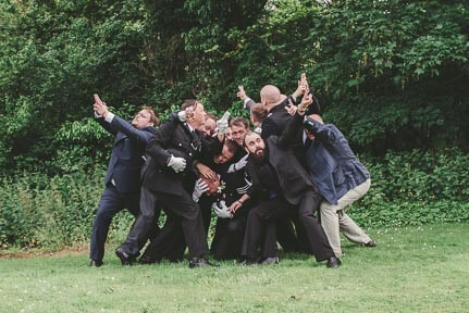 Groom and friends having fun