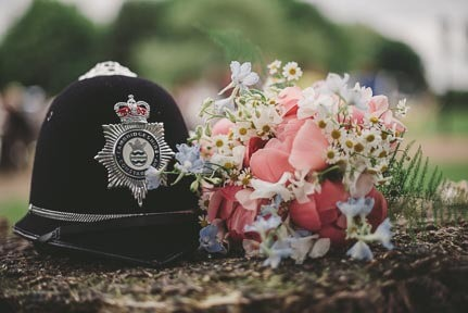 Policeman's Helmet and Bridal Bouquet