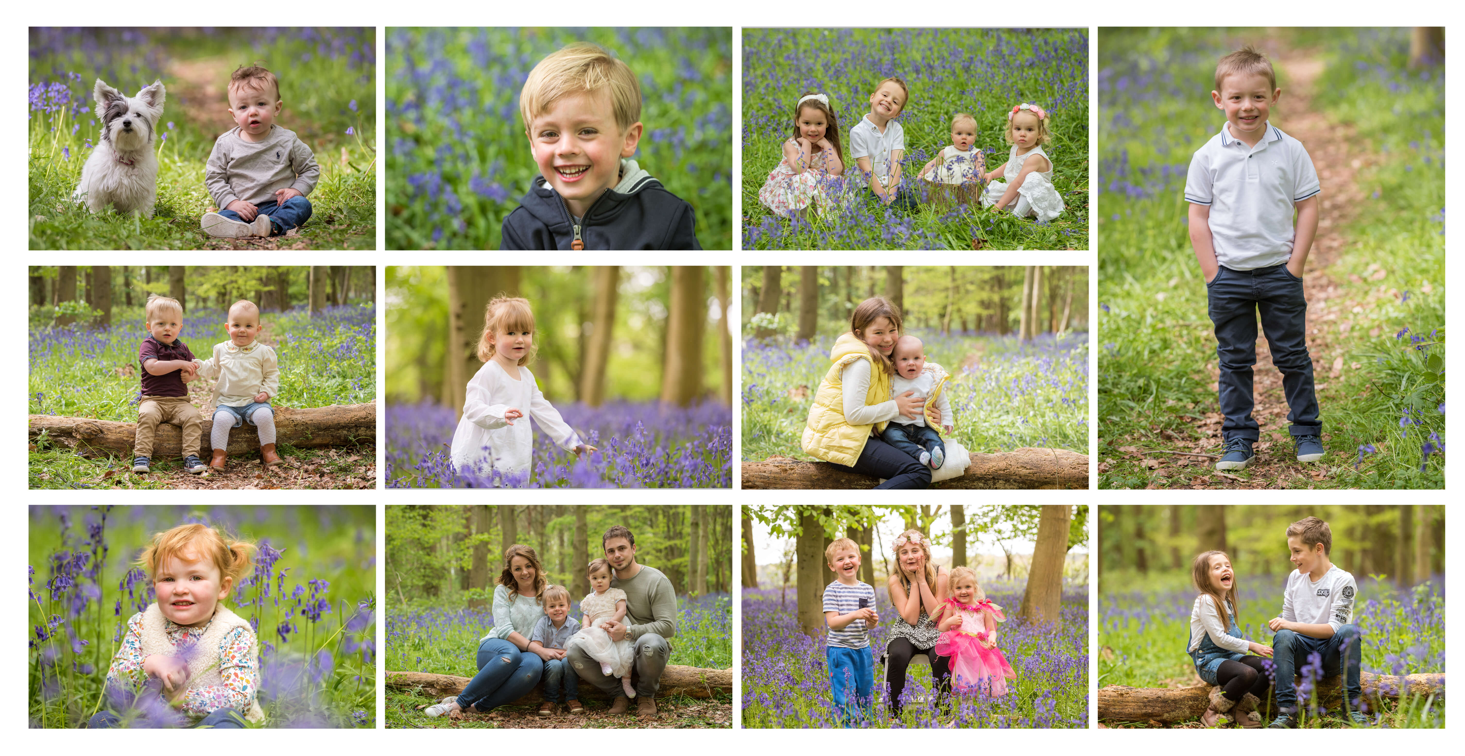 Slice of Life Photography - Collage of Bluebell Photoshoots, Location Photography by Lincolnshire Photographer Slice of Life Photography