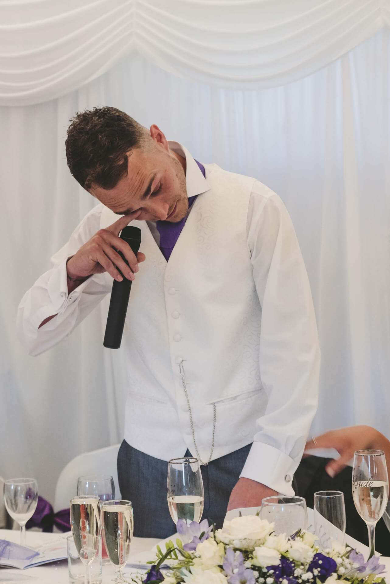 groom crying during wedding speech at Whaplode Manor, Spalding - Lincolnshire wedding photographer  Slice of Life Photography