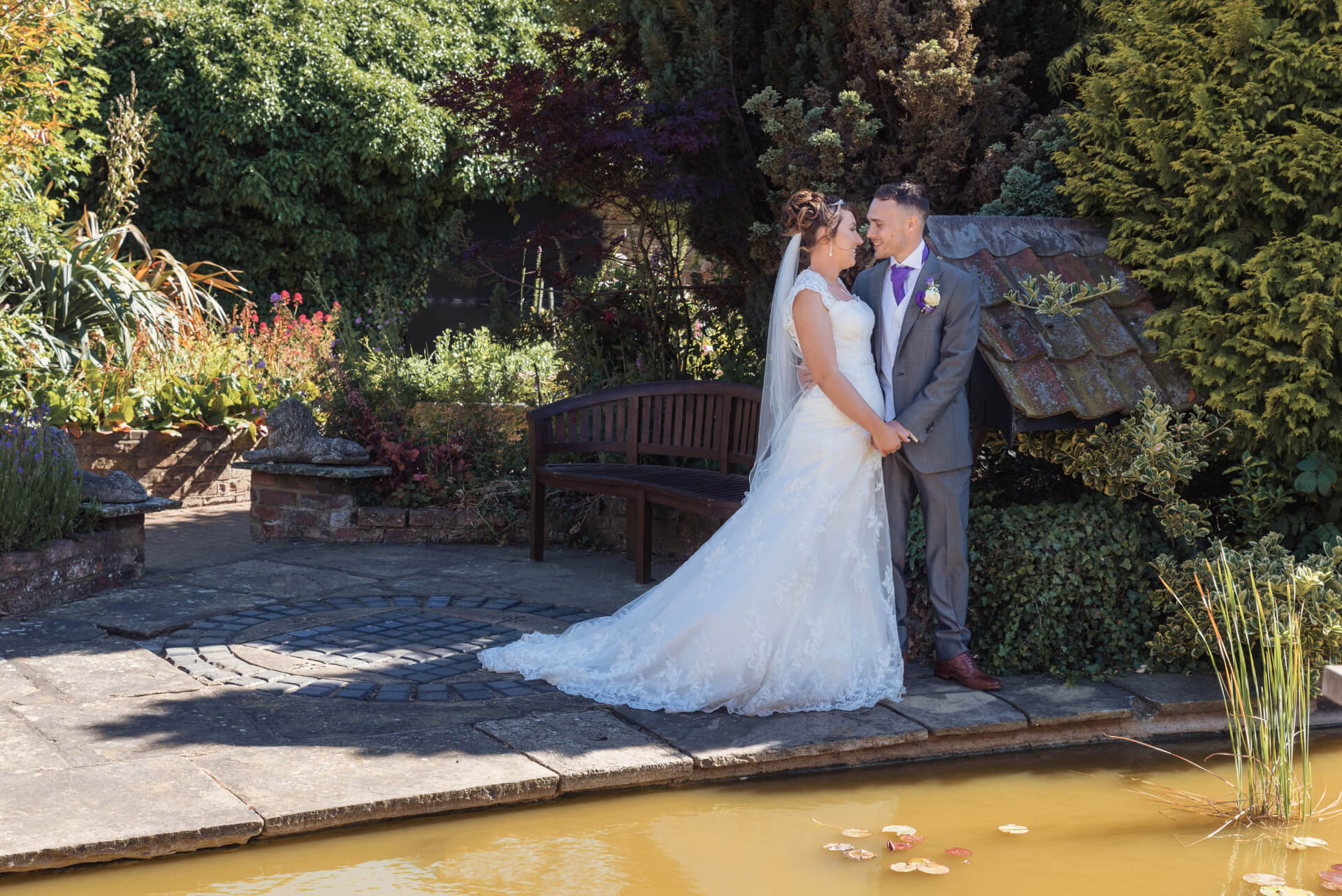 Portrait of Bride and Groom at Whaplode Manor Gardens, Spalding - by Lincolnshire wedding photogrpaher Slife of Life