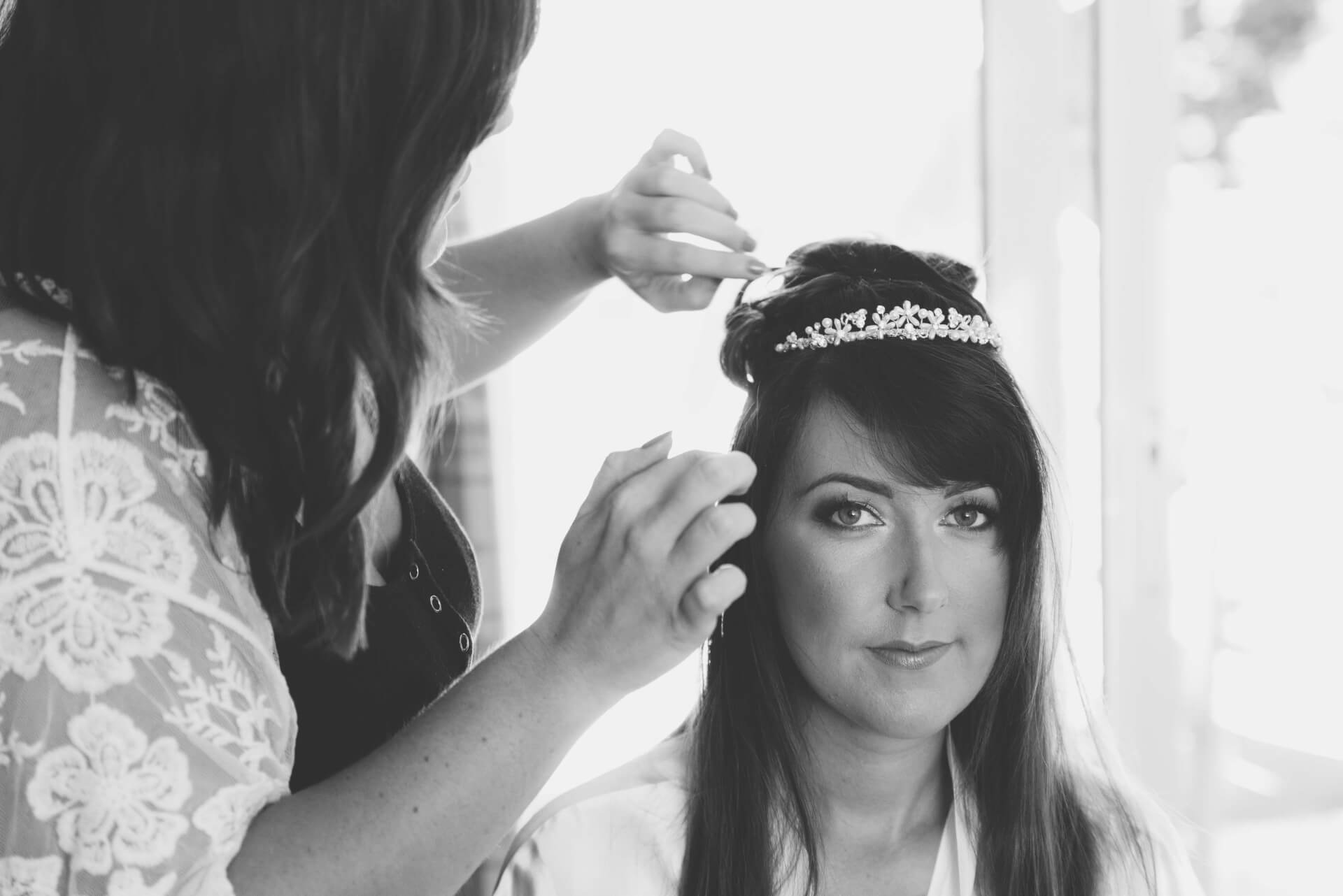 bridal hair preparations - Black and White Reportage wedding photos by Lincolnshire wedding photographer Slice of Life Photography