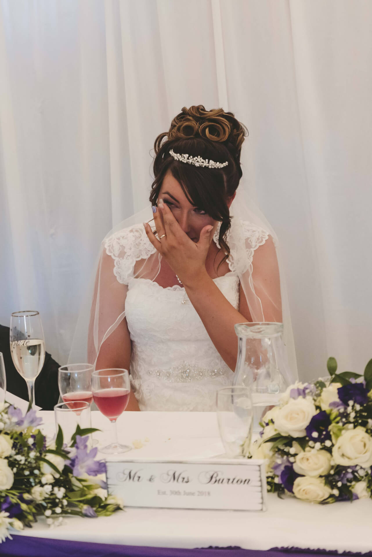 Bride crying during wedding speech at Whaplode Manor, Spalding - Lincolnshire wedding photographer  Slice of Life Photography