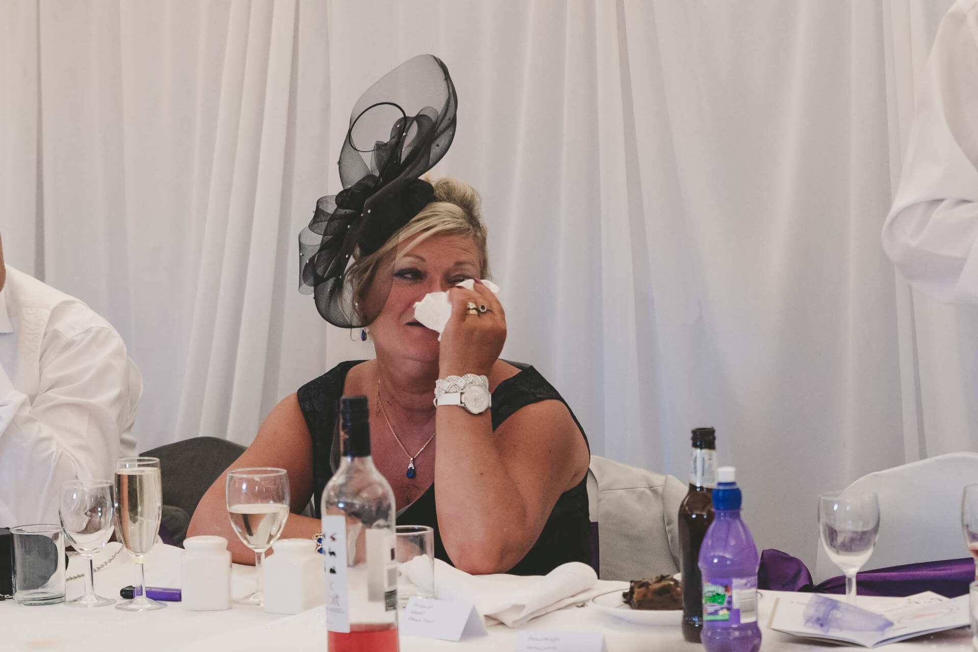 mother of the groom crying during wedding speech at Whaplode Manor, Spalding - Lincolnshire wedding photographer  Slice of Life Photography