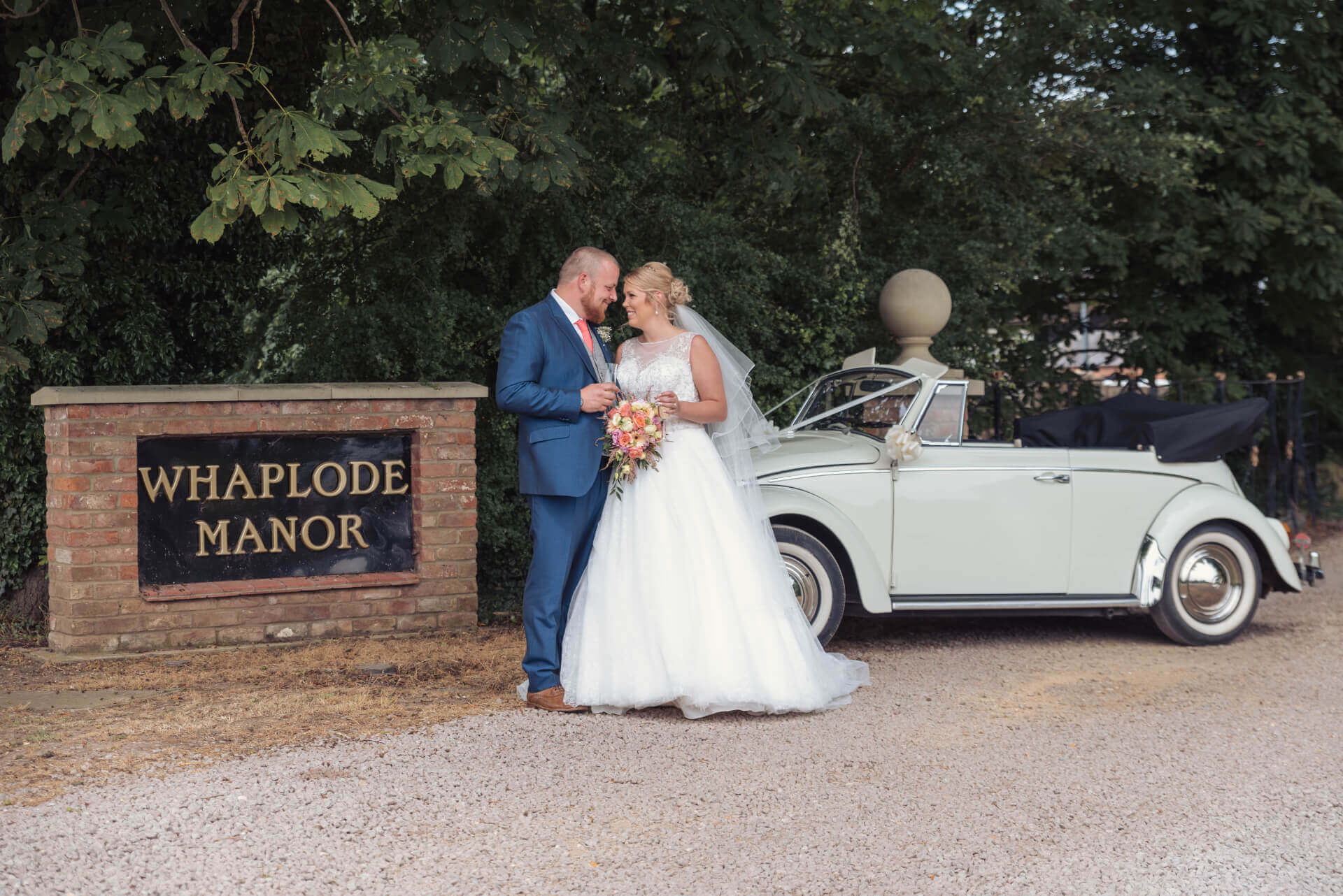 Bride and Groom portrait with wedding car outside Whaplode Manor, Spalding - By Slice of Life Photography