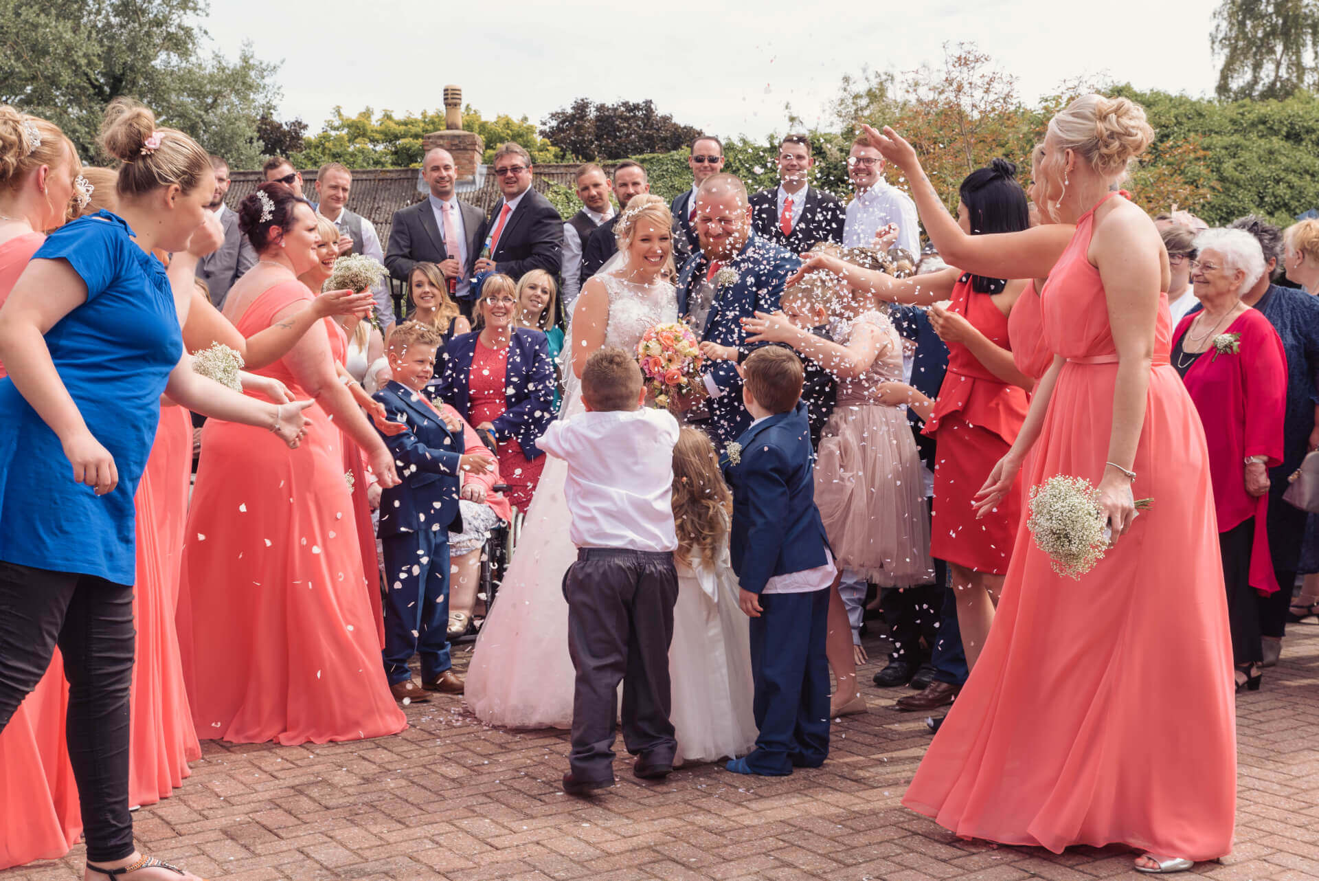 Confetti wedding photograph at Whaplode Manor, Lincolnshire by Slice of Life Photography